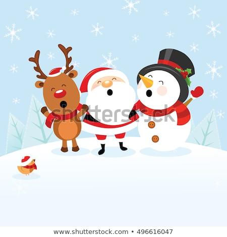 陽気な · グリーティングカード · サンタクロース · エルフ · 陽気な · クリスマス - ストックフォト © robuart