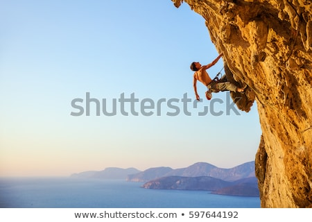 Young man out on a cliff Blue Mountains Stock photo © lovleah