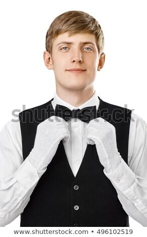 Fiatal elegáns férfi megjavít másfelé néz fekete Stock fotó © feedough