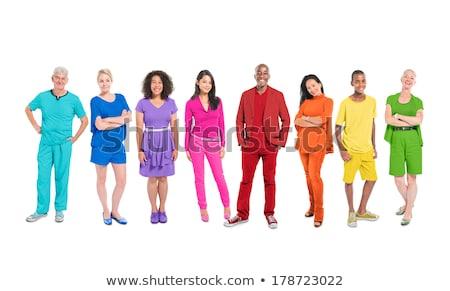 Csapatok színes emberek sziluett ikon különböző Stock fotó © Blue_daemon