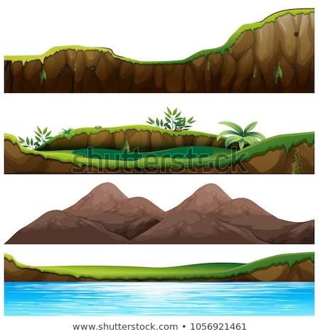 quatre · île · mer · illustration · arbre · paysage - photo stock © colematt