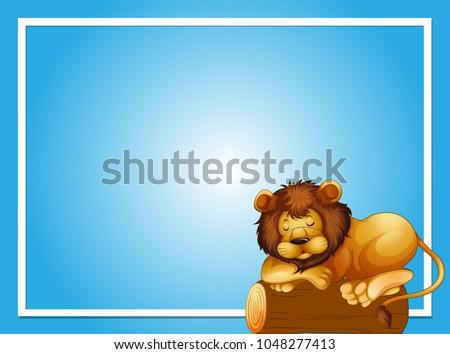 çerçeve şablon uyku aslan örnek arka plan Stok fotoğraf © colematt