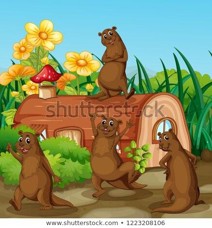 Happy otter next to wooden house Stock photo © colematt