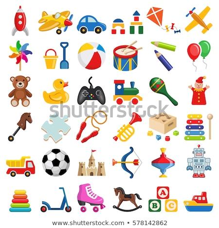 szett · gyerekek · játékok · illusztráció · virág · autó - stock fotó © colematt