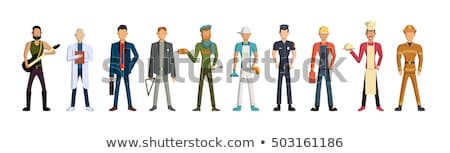Isolated happy fireman.Flat vector illustration Stock photo © makyzz