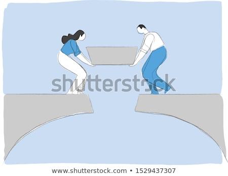 Construire heureux relations adulte couple vecteur Photo stock © robuart