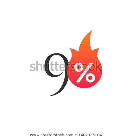 90 percent off with the flame, burning sticker, label or icon. Hot Sale flame and percent sign label Stock photo © kyryloff