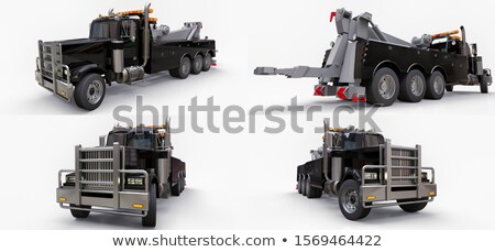 Cartoon tow truck isolated on black background Stock photo © mechanik