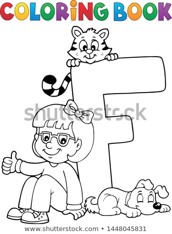 Coloring book girl and pets by letter F Stock photo © clairev
