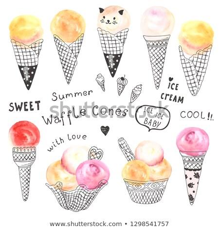 ice cream cartoon doodle watercolor illustration stock photo © balabolka