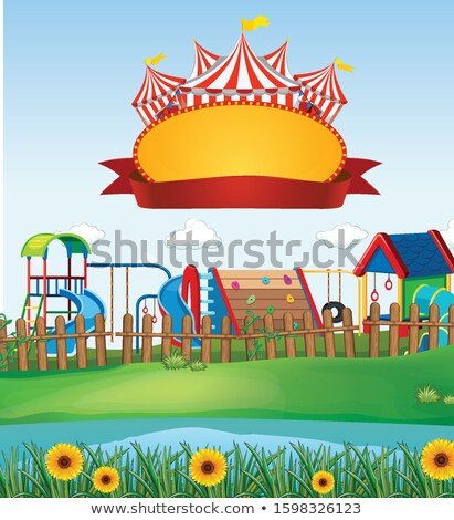 Background scene of park with sign template on tope Stock photo © bluering