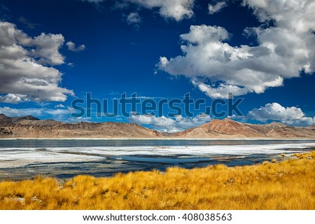 Lago himalaia Índia sal céu água Foto stock © dmitry_rukhlenko