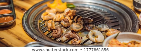Mulher grelhar churrasco grelha carvão vegetal Foto stock © galitskaya