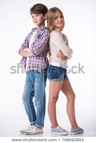 gyönyörű · lány · fiú · pár · nő · boldog · jókedv - stock fotó © goce