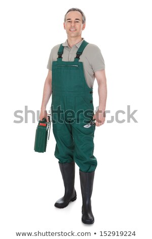 Senior laborer on white background Stock photo © photography33