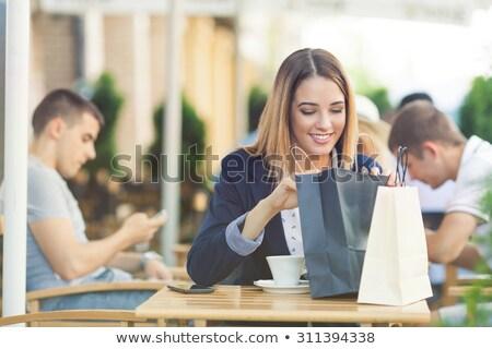 loiro · bolsa · de · compras · branco · mulher · moda - foto stock © carlodapino