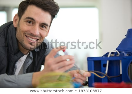 Kabel Hand Computer isoliert weiß Business Stock foto © Pakhnyushchyy