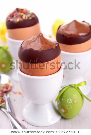Csokoládé hab tojástartó csokoládé friss ünneplés édes Stock fotó © M-studio