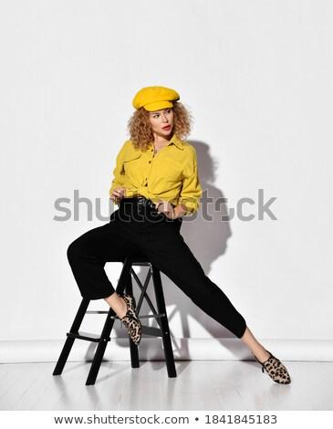 Mooie blond luipaard print blouse blonde vrouw Stockfoto © Pilgrimego