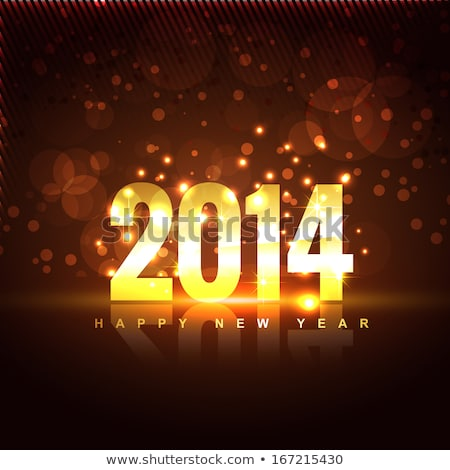 Golden New Year 2014 In Shining Star Stockfoto © PinnacleAnimates