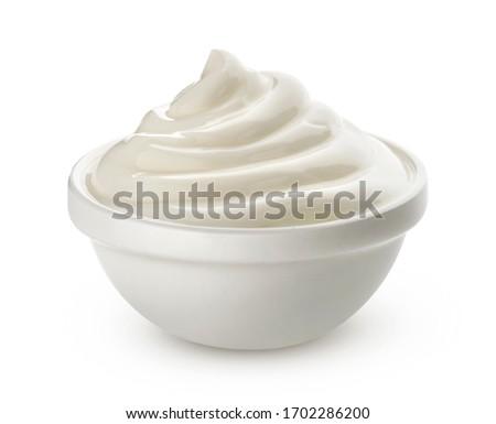 mayonesa · vidrio · tazón · mesa · cocina · negro - foto stock © natika