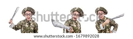 funny · soldado · cuchillo · blanco · hombre · verde - foto stock © Elnur