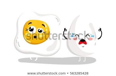 Komische roereieren peper plaat voedsel gezicht Stockfoto © lemonti