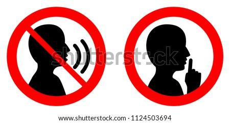 вектора знак тихий изолированный белый оратора Сток-фото © dashadima