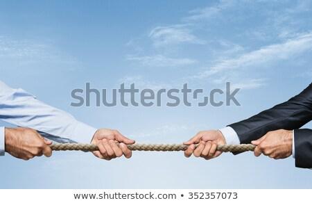 nő · húz · kötél · égbolt · érett · nő · néz - stock fotó © paha_l