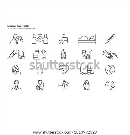 Vékony vonal orvosi ikon szett egészségügy háló Stock fotó © Genestro