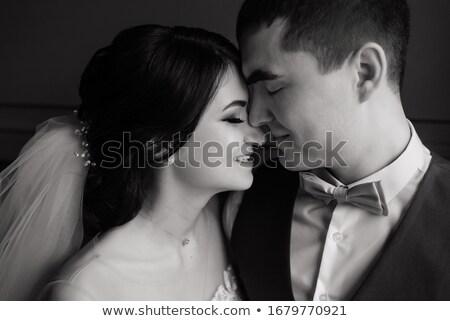 Wedding Couple Kissing in Loft Interior Stock photo © dariazu