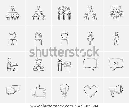 discurso · boceto · icono · vector · aislado - foto stock © rastudio