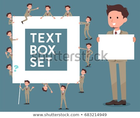 flat type Beige suit short hair beard man_text box stock photo © toyotoyo