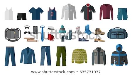 Stock fotó: Szett · férfiak · ruházat · kellékek · ikonok · különböző