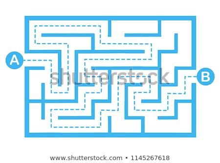 Egyszerű labirintus út megoldás absztrakt puzzle Stock fotó © vtorous