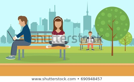 People sitting in a park, holding lap top on their lap. Social network concept. Flat vector illustra Stock photo © makyzz