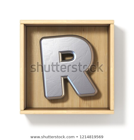 Silver metal letter R in wooden box 3D Stock photo © djmilic