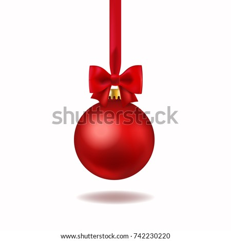 Red Christmas ball with red bow. Xmas glass ball on transparent background. Holiday decoration templ stock photo © olehsvetiukha