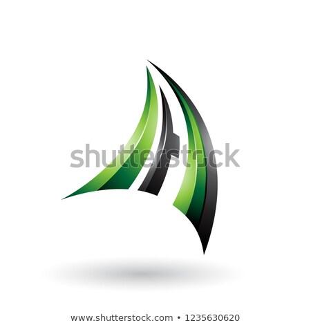 Zöld fekete 3D dinamikus repülés levél Stock fotó © cidepix
