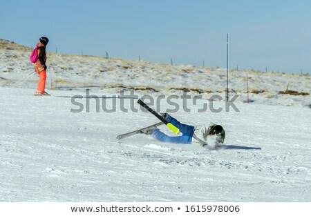 женщину · падение · крест · стране · лыжах · пейзаж - Сток-фото © kzenon