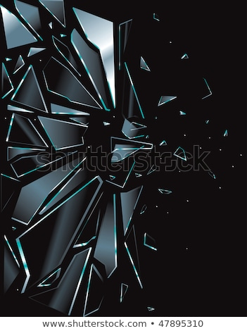 cacos · de · vidro · ilustração · janela · quadro · azul · preto - foto stock © colematt
