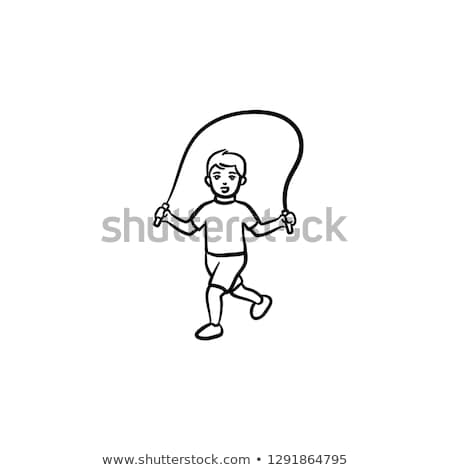 Child with skipping rope hand drawn outline doodle icon. Stock photo © RAStudio