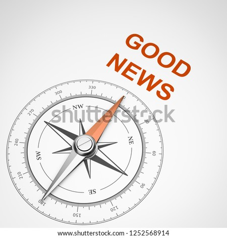Stock photo: Compass on White Background, Good News Concept