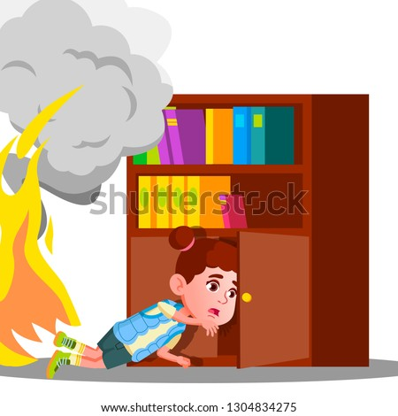 kid girl climbs into cabinet shelf clothes to hide from smoke and fire vector isolated illustration stock photo © pikepicture