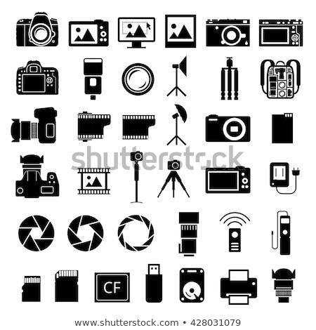 icona · foto · fotocamera · ampia · lenti · colore - foto d'archivio © angelp