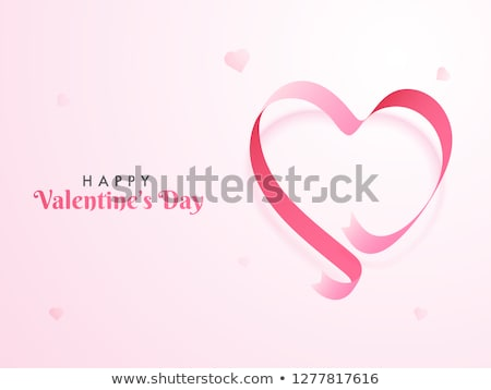 Valentine card template with hearts and ribbon Stock photo © colematt