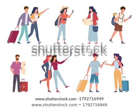 Family in Airport, Traveler Taking Selfie Vector Stock photo © robuart