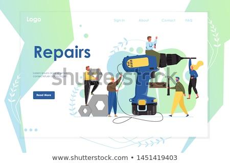 ремонта службе вектора дизайн логотипа цифровой инструменты Сток-фото © barsrsind