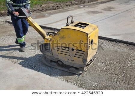 Werknemer plaat bouwplaats grind gebouw wegenbouw Stockfoto © simazoran