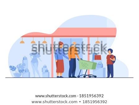 Enkel Warenkorb zusammen Vektor Großeltern wenig Stock foto © robuart